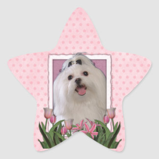 Thank You - Pink Tulips - Maltese Star Stickers