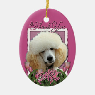Thank You - Pink Tulips - Poodle - Apricot Christmas Ornament