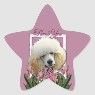 Thank You - Pink Tulips - Poodle - Apricot Stickers