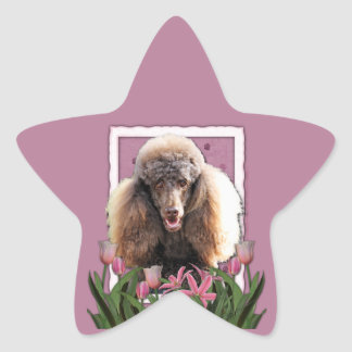 Thank You - Pink Tulips - Poodle - Chocolate Star Sticker