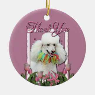 Thank You - Pink Tulips - Poodle - White Christmas Ornament