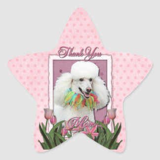 Thank You - Pink Tulips - Poodle - White Star Sticker