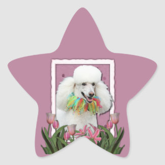 Thank You - Pink Tulips - Poodle - White Sticker