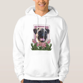 Thank You - Pink Tulips - Pug Hoodie