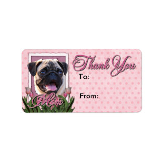 Thank You - Pink Tulips - Pug Label