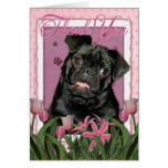 Thank You - Pink Tulips - Pug - Ruffy