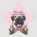 Thank You - Pink Tulips - Pug Star Stickers