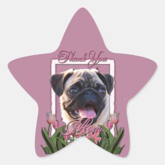 Thank You - Pink Tulips - Pug Star Sticker