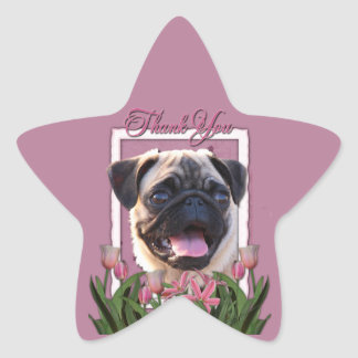 Thank You - Pink Tulips - Pug Sticker