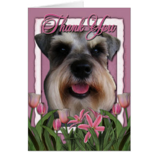 Thank You - Pink Tulips - Schnauzer Greeting Card