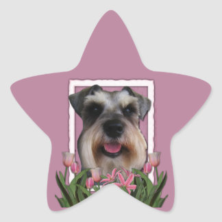 Thank You - Pink Tulips - Schnauzer Star Sticker
