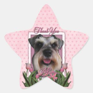 Thank You - Pink Tulips - Schnauzer Star Stickers