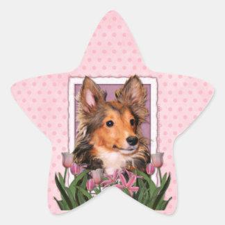 Thank You - Pink Tulips - Sheltie Puppy - Cooper Sticker