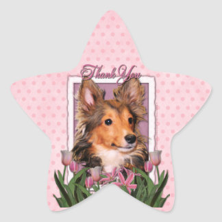 Thank You - Pink Tulips - Sheltie Puppy - Cooper Stickers