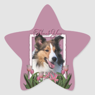 Thank You - Pink Tulips - Sheltie Star Sticker