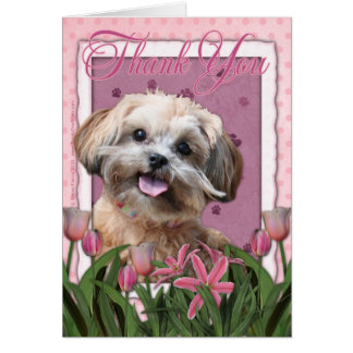 Thank You - Pink Tulips - ShihPoo - Maggie Card