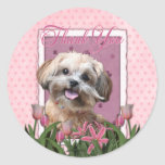Thank You - Pink Tulips - ShihPoo - Maggie Stickers