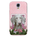 Thank You - Pink Tulips - Weimeraner - Blue Eyes Galaxy S4 Cover