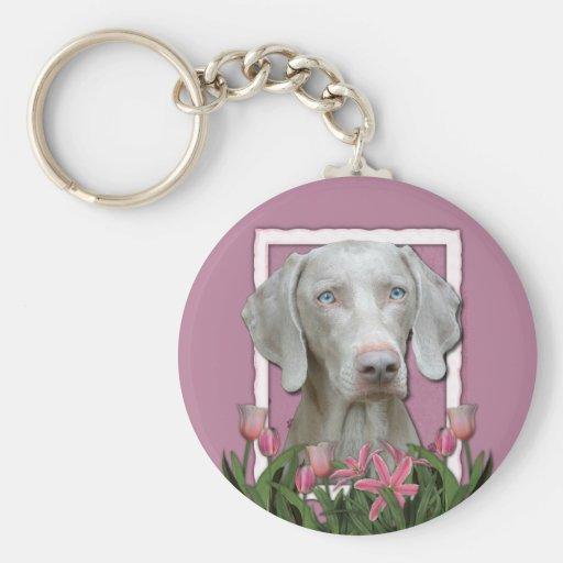 Thank You - Pink Tulips - Weimeraner - Blue Eyes Key Chain
