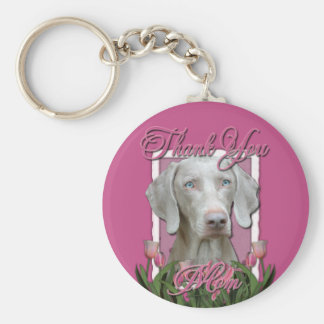 Thank You - Pink Tulips - Weimeraner - Blue Eyes Key Chains