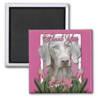 Thank You - Pink Tulips - Weimeraner - Blue Eyes Magnet