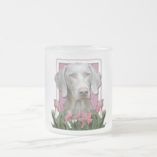 Thank You - Pink Tulips - Weimeraner - Blue Eyes Coffee Mugs