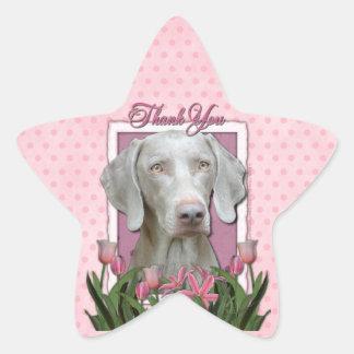 Thank You - Pink Tulips - Weimeraner - Golden Eyes Star Sticker