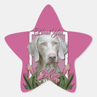 Thank You - Pink Tulips - Weimeraner - Golden Eyes Stickers
