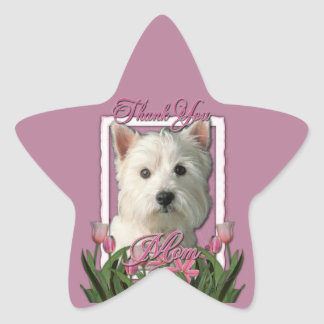Thank You - Pink Tulips - West Highland Terrier Star Sticker