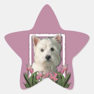 Thank You - Pink Tulips - West Highland Terrier Star Sticker