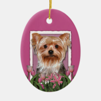 Thank You - Pink Tulips - Yorkshire Terrier Ceramic Oval Decoration