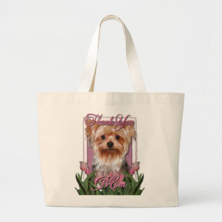 Thank You - Pink Tulips - Yorkshire Terrier Large Tote Bag