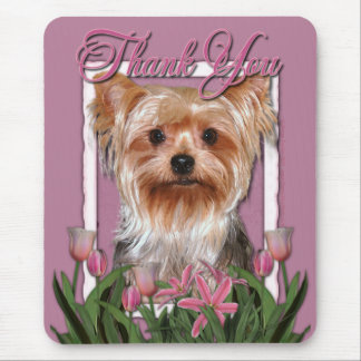 Thank You - Pink Tulips - Yorkshire Terrier Mouse Mat