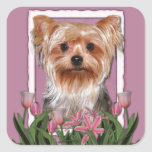 Thank You - Pink Tulips - Yorkshire Terrier Square Stickers
