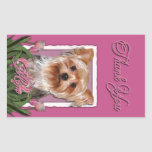 Thank You - Pink Tulips - Yorkshire Terrier Rectangular Stickers