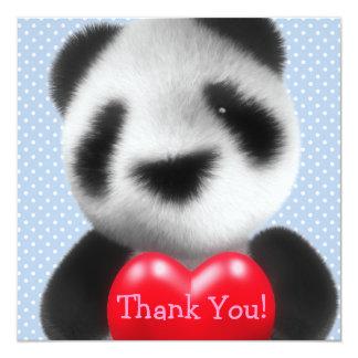 Thank You! Polka Dot Blue Heart Panda 13 Cm X 13 Cm Square Invitation Card