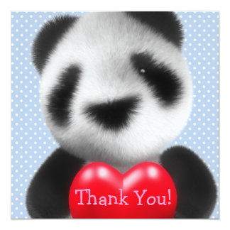 Thank You! Polka Dot Blue Heart Panda Card
