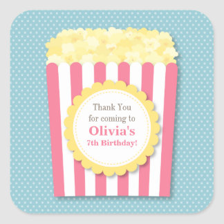 Thank You Popcorn Kids Birthday Party Stickers