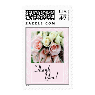 Thank You Postage - Pink And White Roses