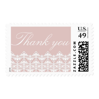 Thank You Postage Stamps Old Rose Antique Damask