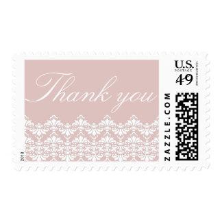 Thank You Postage Stamps Old Rose Antique Damask