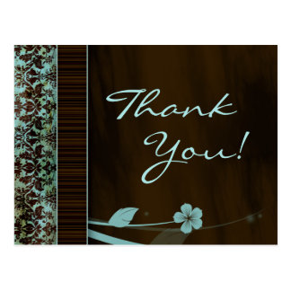Thank You Postcard Blue Flower Damask Brown