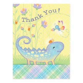 Thank You Postcard lizard, lady bugs, butterfly