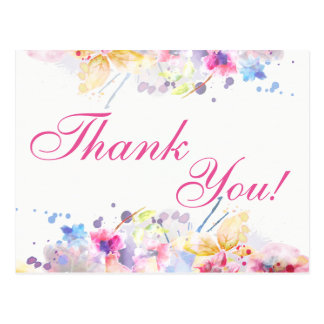 Thank You Postcard Watercolor Design