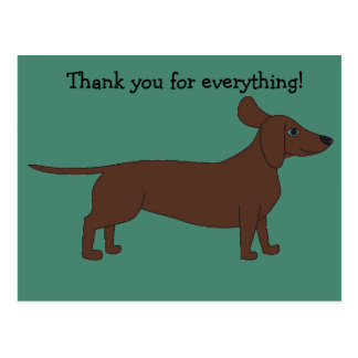 Thank You Postcard with Dachshund