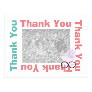 Thank You Postcard with photo - Pink Baby Carriage