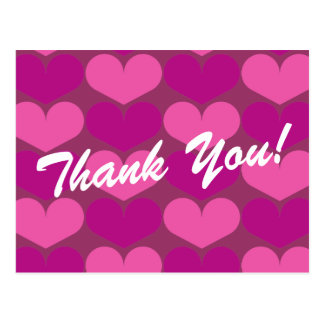 Thank you postcards with heart print