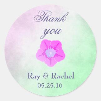 Thank you pretty purple flower round sticker