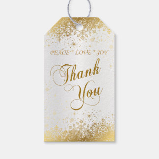 Thank You Pretty White Satin and Gold Gift Tags