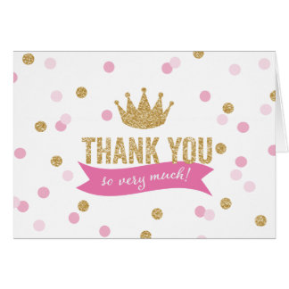 Thank You | Princess Crown Glitter NoteCard